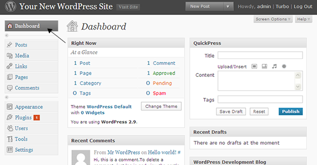 WordPress dashboard Screenshot
